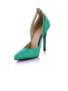 Leatherette Stiletto Heel Pumps Closed Toe With Animal Print shoes (085029176)