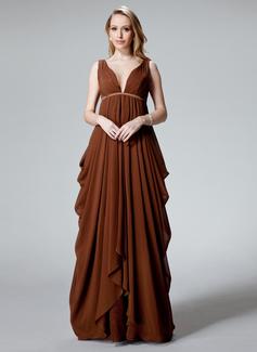 Empire-Linie V-Ausschnitt Bodenlang Chiffon Abendkleid mit Rüschen (017025830)