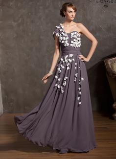 A-Linie/Princess-Linie One-Shoulder-Träger Bodenlang Chiffon Kleid für die Brautmutter mit Rüschen Blumen (008014902)