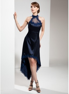 A-Line/Princess Halter Asymmetrical Charmeuse Cocktail Dress With Appliques Lace (016008531)