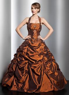 Duchesse-Linie Träger Bodenlang Taft Quinceañera Kleid (Kleid für die Geburtstagsfeier) mit Rüschen Perlen verziert (021014753)
