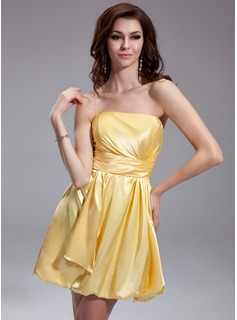 A-Line/Princess Strapless Short/Mini Charmeuse Gossip Girl Style Dress With Ruffle (024003553)