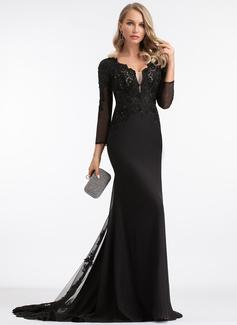 Trumpet/Mermaid V-neck Sweep Train Chiffon Evening Dress With Beading (017198676)
