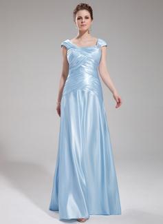 Corte A/Princesa Hasta el suelo Charmeuse Vestido de noche con Volantes Bordado (017019555)