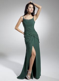 A-Linie/Princess-Linie U-Ausschnitt Bodenlang Chiffon Festliche Kleid mit Rüschen Perlen verziert Schlitz Vorn (020032265)