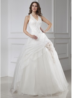 Ball-Gown Halter Floor-Length Organza Satin Tulle Wedding Dress With Beading Flower(s) (002015456)