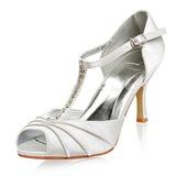 Vrouwen Satijn Stiletto Heel Peep Toe sandalen met Buckle Rhinestone (047005119)