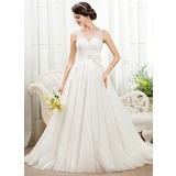Ball-Gown V-neck Chapel Train Satin Tulle Lace Wedding Dress With Beading Flower(s) Sequins (002055918)