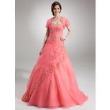 Duchesse-Linie Schatz Bodenlang Organza Quinceañera Kleid (Kleid für die Geburtstagsfeier) mit Perlstickerei Applikationen Spitze Pailletten (021004558)