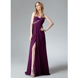 Empire One-Shoulder Sweep Train Chiffon Evening Dress With Ruffle Beading Appliques Lace Sequins Split Front (017004368)