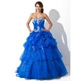 Duchesse-Linie Schatz Bodenlang Organza Quinceañera Kleid (Kleid für die Geburtstagsfeier) mit Rüschen Applikationen Spitze Pailletten (021004707)