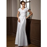Trumpet/Mermaid V-neck Floor-Length Taffeta Bridesmaid Dress With Ruffle (007001489)