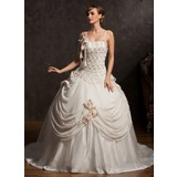 Ball-Gown Chapel Train Chiffon Satin Tulle Wedding Dress With Lace Beading Flower(s) (002015173)