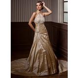 Forme Princesse Dos nu Traîne mi-longue Taffeta Robe de mariée avec Plissé Emperler (002004550)