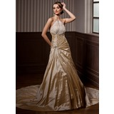 A-Line/Princess Halter Chapel Train Taffeta Wedding Dress With Ruffle Beading (002004550)