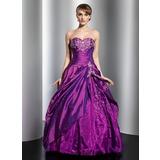 Duchesse-Linie Schatz Bodenlang Taft Quinceañera Kleid (Kleid für die Geburtstagsfeier) mit Bestickt Perlstickerei Pailletten Gestufte Rüschen (021014761)