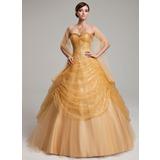 Duchesse-Linie Herzausschnitt Bodenlang Tüll Pailletten Quinceañera Kleid (Kleid für die Geburtstagsfeier) mit Rüschen (021004561)