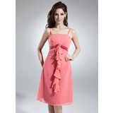 Empire Knee-Length Chiffon Satin Bridesmaid Dress With Beading Cascading Ruffles (007001131)