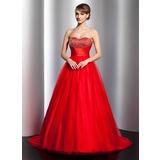 Duchesse-Linie Schatz Sweep/Pinsel zug Tüll Quinceañera Kleid (Kleid für die Geburtstagsfeier) mit Rüschen Perlstickerei (021020796)