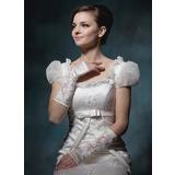 Elastic Satin Elbow Length Bridal Gloves (014020521)