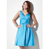 A-Line/Princess V-neck Knee-Length Satin Bridesmaid Dress With Ruffle (007000941)