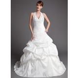 Balklänning Grimma Chapel släp Taft Bröllopsklänning med Rufsar Spetsar Pärlbrodering (002001447)