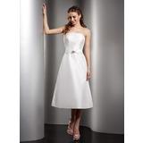 A-Line/Princess Strapless Tea-Length Taffeta Bridesmaid Dress With Ruffle Beading (007001078)