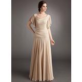 A-Linie/Princess-Linie Cowl Neck Bodenlang Chiffon Kleid für die Brautmutter mit Perlen verziert Gestufte Rüschen (008006185)