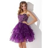 A-Lijn/Prinses Sweetheart Knie-Lengte Organza Cocktailjurk met Kraalwerk Ruches (016013753)