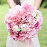 Blooming Round Silk Flower Bridal Bouquets/Bridesmaid Bouquets - (123205632)