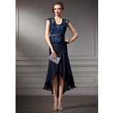 A-Linie/Princess-Linie Herzausschnitt Asymmetrisch Chiffon Spitze Kleid für die Brautmutter mit Schleife(n) (008005924)