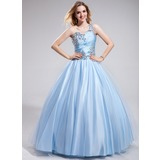 Ball-Gown One-Shoulder Floor-Length Tulle Charmeuse Prom Dress With Ruffle Beading (018025293)