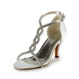 Vrouwen Satijn Stiletto Heel Sandalen met Gesp Strass (047005860)