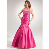 Trumpet/Mermaid Halter Floor-Length Taffeta Holiday Dress With Ruffle Beading (020025983)