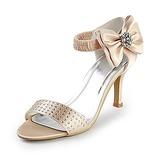 Vrouwen Satijn Stiletto Heel Peep Toe Sandalen met Strik Bergkristal (047015227)