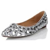Vrouwen Echt leer Flat Heel Closed Toe Flats met Strass (047040899)