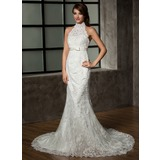 Trumpet/Mermaid Halter Chapel Train Tulle Lace Wedding Dress With Bow(s) (002011461)
