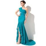 Trompete/Meerjungfrau-Linie Eine Schulter Asymmetrisch Chiffon Festliche Kleid mit Perlstickerei Pailletten Gestufte Rüschen (020050395)
