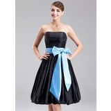 Empire Strapless Knee-Length Taffeta Bridesmaid Dress With Sash Bow(s) (007001125)