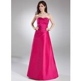 A-Lijn/Prinses Sweetheart Vloer lengte Taft Bruidsmeisjes Jurk met Roes (007004289)