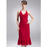 Empire V-neck Tea-Length Chiffon Bridesmaid Dress With Ruffle Bow(s) (007004277)
