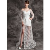 A-Line/Princess Off-the-Shoulder Court Train Satin Lace Wedding Dress With Beading Split Front (002024084)