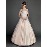 Duchesse-Linie Trägerlos Bodenlang Tüll Quinceañera Kleid (Kleid für die Geburtstagsfeier) mit Rüschen Perlen verziert Blumen (021015713)
