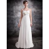 Empire Sweetheart Court Train Chiffon Bridesmaid Dress With Ruffle Beading Flower(s) (007016873)