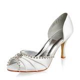 Kvinnor Satäng STILETTKLACK Peep Toe Sandaler med Strass (047005048)