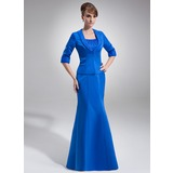 Empire Scoop Neck Floor-Length Satin Organza Mother of the Bride Dress With Ruffle Beading (008006285)