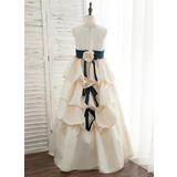Ball-Gown/Princess Floor-length Flower Girl Dress - Satin Sleeveless Scoop Neck With Sash/Flower(s) (010172361)