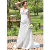 A-Line/Princess V-neck Court Train Taffeta Wedding Dress With Ruffle Beading Sequins (002001407)