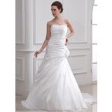 A-Line/Princess Sweetheart Court Train Taffeta Wedding Dress With Ruffle Beading Feather Flower(s) (002001716)