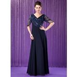 A-Linie/Princess-Linie V-Ausschnitt Bodenlang Chiffon Kleid für die Brautmutter mit Rüschen Perlstickerei (008018715)